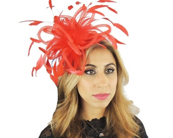 8e84c7fd7b55f Red Fascinator Hat for Weddings, Races, and Special Events With Headband  Sale