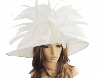 Gorgeous White Woodpecker Hat for Kentucky Derby, Weddings (40 colours available)