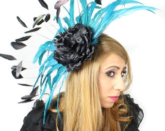 Black/Turquoise Gergana Fascinator Hat for Weddings, Races, and Special Events With Headband