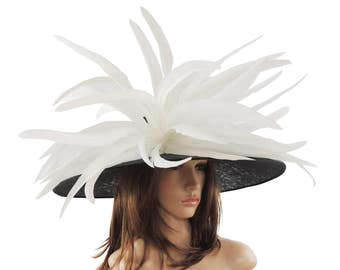 Gorgeous Black White Woodpecker Hat for Kentucky Derby, Weddings (40 colours available)