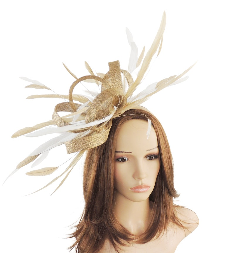 a5169d90 Melik Gold & Cream Fascinator Kentucky Derby or Wedding Hat | Etsy