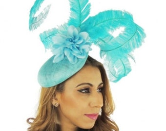 Turquoise Fascinator Ascot Kentucky Derby Proms **SAMPLE SALE**