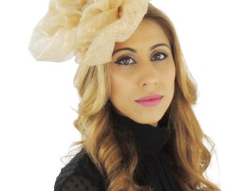 Rose Pale Gold Fascinator Hat for Weddings, Races, and Special Events With Headband