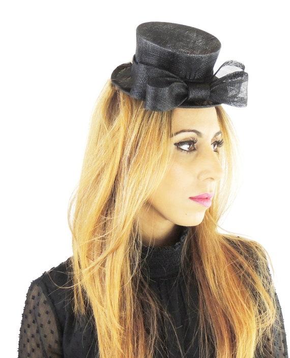 Black Mini Top Hat Fascinator Ascot Kentucky Derby Proms  d380701ce06