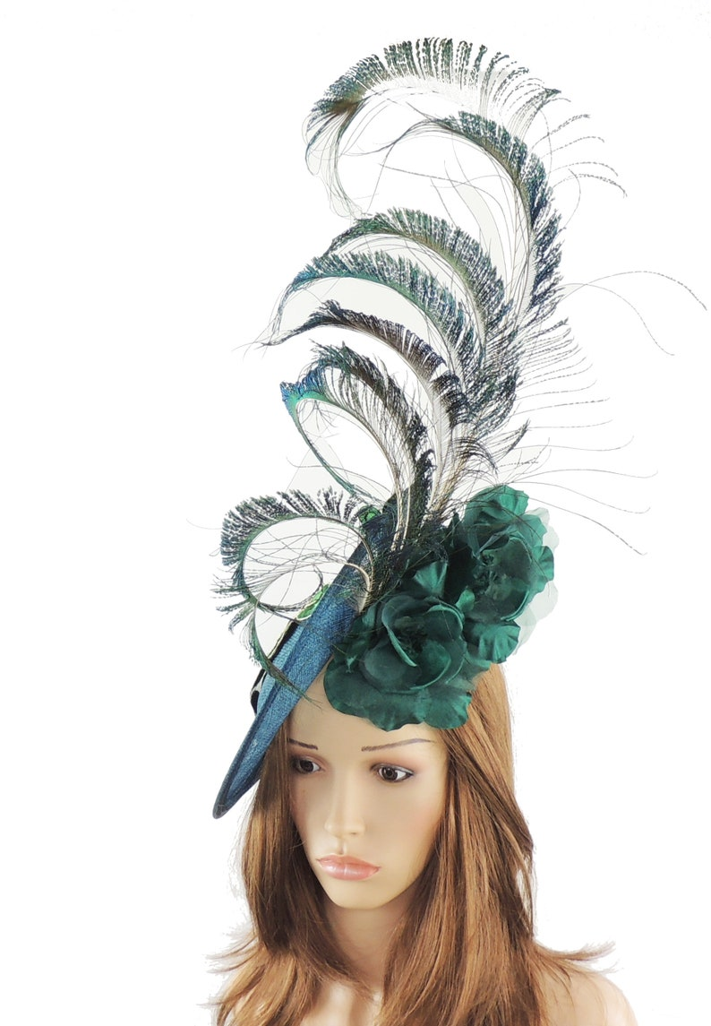 d6cdf60b Jade Peacock Green Blanche Fascinator Hat for Kentucky Derby | Etsy