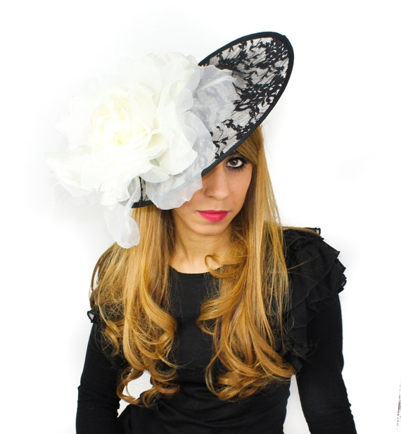 Black and Cream Lace Fascinator Hat for Weddings Races and  8a9b78dfdba