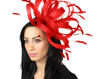 Persian Red Fascinator Hat for Weddings, Races, and Special Events With Headband
