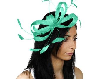 Sinamay Butterfly Mint Fascinator Hat for Weddings, Races, and Special Events With Headband