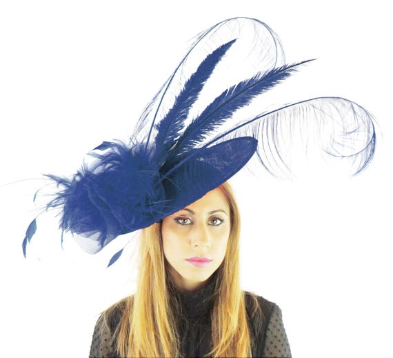 f2ab8f30f7a75 Navy Blue Angelo Fascinator Hat for Weddings Kentucky Derby | Etsy
