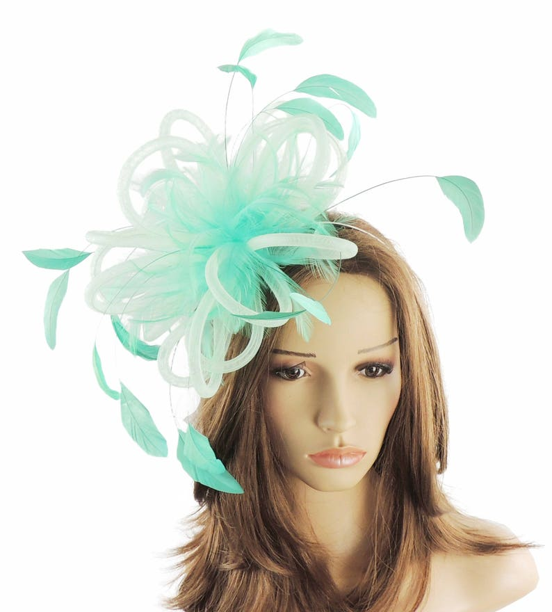 Mint Green Fluffy Crin Fascinator Hat for Weddings Races and  d1802624a2f