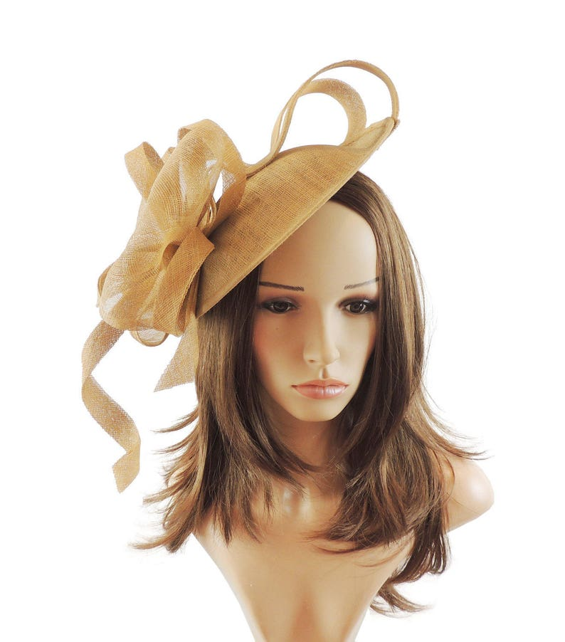 9037127dabd74 Flora Dora Gold Fascinator Hat for Weddings Races and