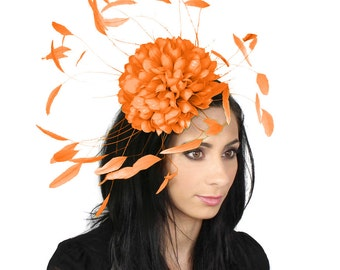 Margeaux Orange Fascinator Hat for Weddings, Races, and Special Events With Headband