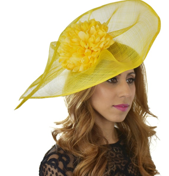 Yellow Sinamay Fascinator Ascot Kentucky Derby Proms SAMPLE  0f3e7a8aec28
