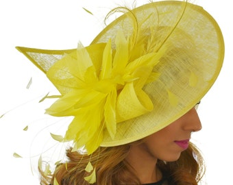Adonis Yellow Fascinator Hat for Weddings, Races, and Special Events With Headband