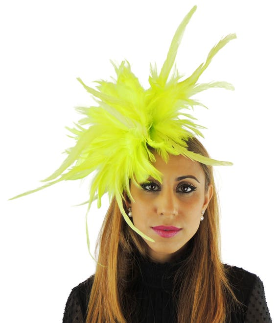 Unstripped Bright Lime Green Fascinator Hat for Weddings  fb73763eeb9