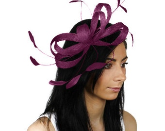 Sinamay Butterfly Plum Fascinator Hat for Weddings, Races, and Special Events With Headband