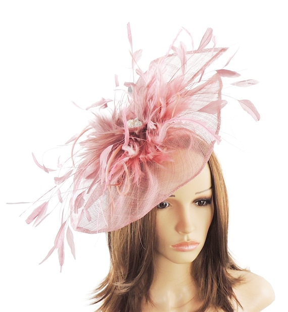 Petia Large Dusky Pink Fascinator Hat for Weddings Races and  7969ef52d45