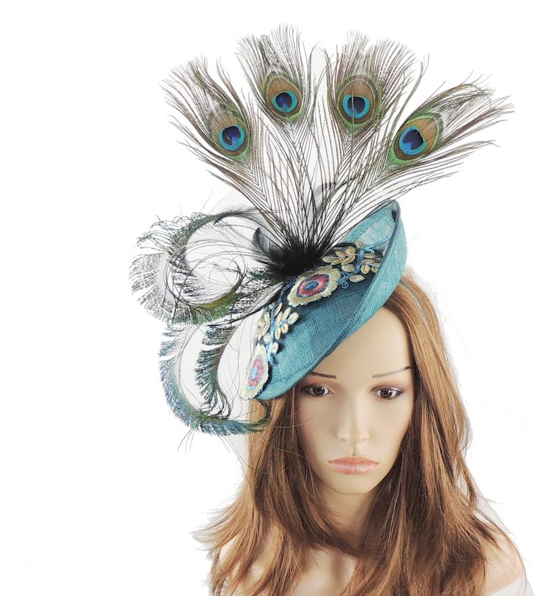 0cf05df4 Jade Peacock Green King Fisher Fascinator Hat for Kentucky | Etsy