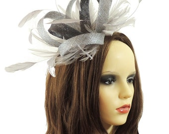 Sandra Silver Dark Grey Fascinator Hat for Weddings, Races, and Special Events With Headband