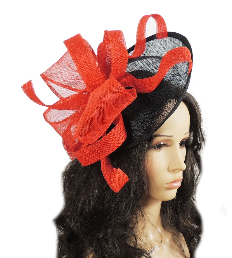 67bff53beb9f2 Flora Dora Red and Black Fascinator Hat for Weddings Races