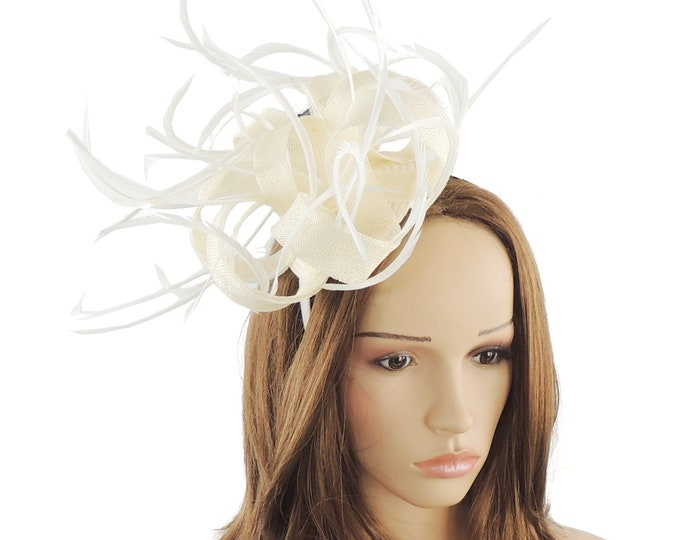 Cream Kremena Fascinator Hat for Weddings, Races, and Special Events With Headband