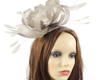 Fireball Metallic Silver Fascinator Hat for Weddings, Races, and Special Events With Headband