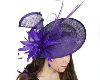 Adonis Purple Fascinator Hat for Weddings, Races, and Special Events With Headband