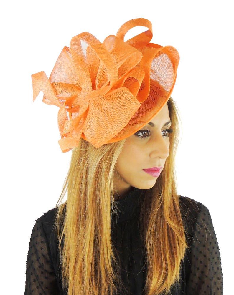b33f5d07bedee Flora Dora Orange Fascinator Hat for Weddings Races and