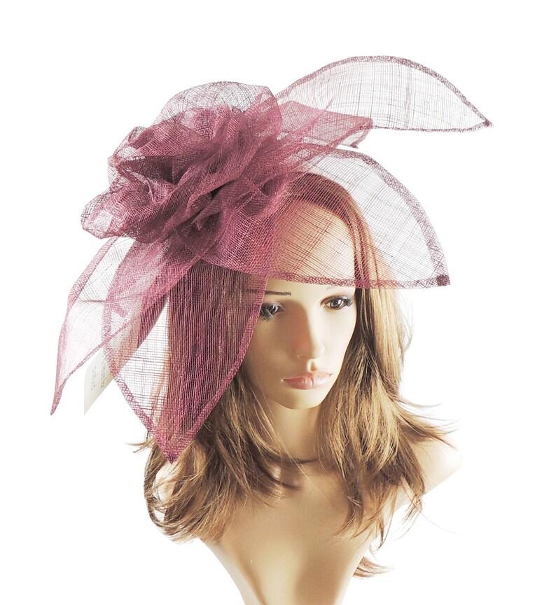 f9073d532d009 Carnation Burgundy WIne Fascinator Hat for Melbourne Cup