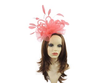 Coral Pink Fascinator Hat for Kentucky Derby Ascot **SAMPLE SALE