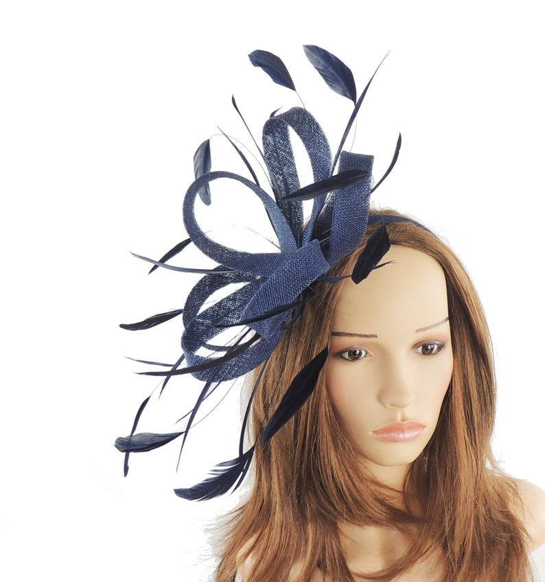 2bd3f38f Regan Navy Blue Fascinator Kentucky Derby or Wedding Hat With | Etsy