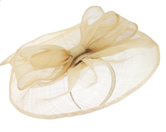 Commodore Beige Fascinator Hat for Weddings, Races, and Special Events With Headband