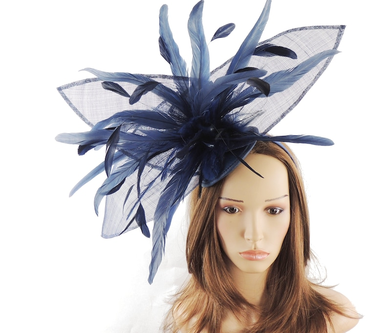 13b7123bde124 Large Navy Blue Esther Fascinator Hat for Weddings Occasions | Etsy