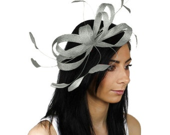Sinamay Butterfly Grey Fascinator Hat for Weddings, Races, and Special Events With Headband