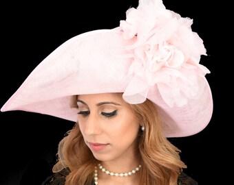 Pale Pink Silk Rose Hat for Kentucky Derby, Weddings Ascot