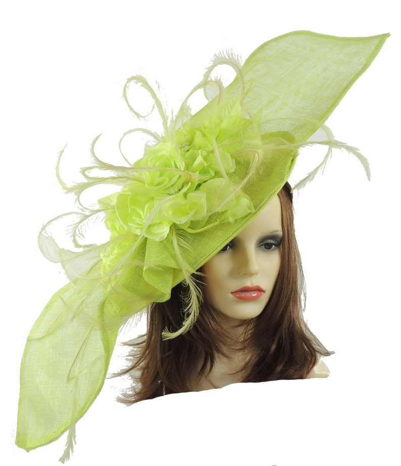 Elisaveta Lime Green Fascinator Hat for Weddings Races  496dcae234c