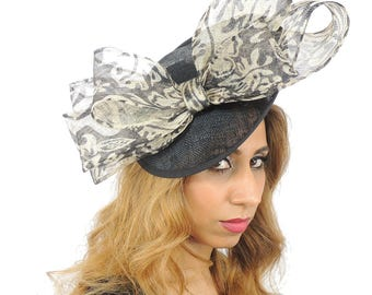 Black and Cream Daniella Hat for Weddings, Races, and Special Events With Headband