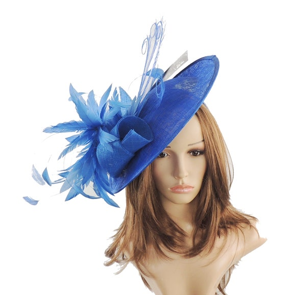 Adonis Royal Blue Fascinator Hat for Weddings Races and  5f3380078fb