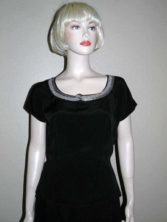 "1950s MORLOVE  ""The Couturier Blouse"" Black embel… - image 3"
