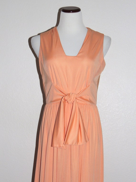 1970s Teal TRAINA Maxi Dress and Jacket, Apricot K