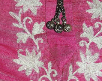 Vintage Hand Loomed Silk Embroidered Dress for New Delhi with Bells