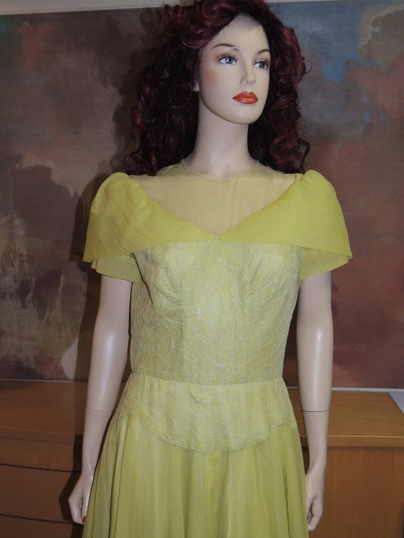 1940s Chartreuse Shawl Collar Gown