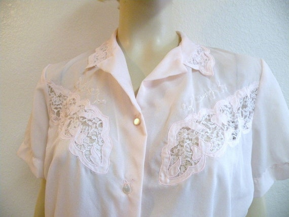 1950s Pink Embroidered Semi Shear blouse
