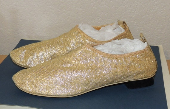 1960s Metallic Gold Fabric Booties size 6
