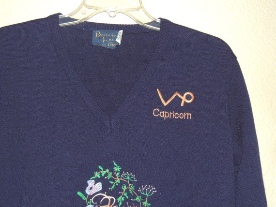 1970s CAPRICORN Embroidered V Neck Sweater by Bon… - image 3