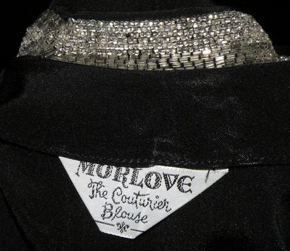 "1950s MORLOVE  ""The Couturier Blouse"" Black embel… - image 2"