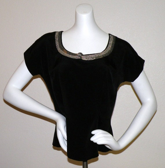 """1950s MORLOVE  """"The Couturier Blouse"""" Black embell"""