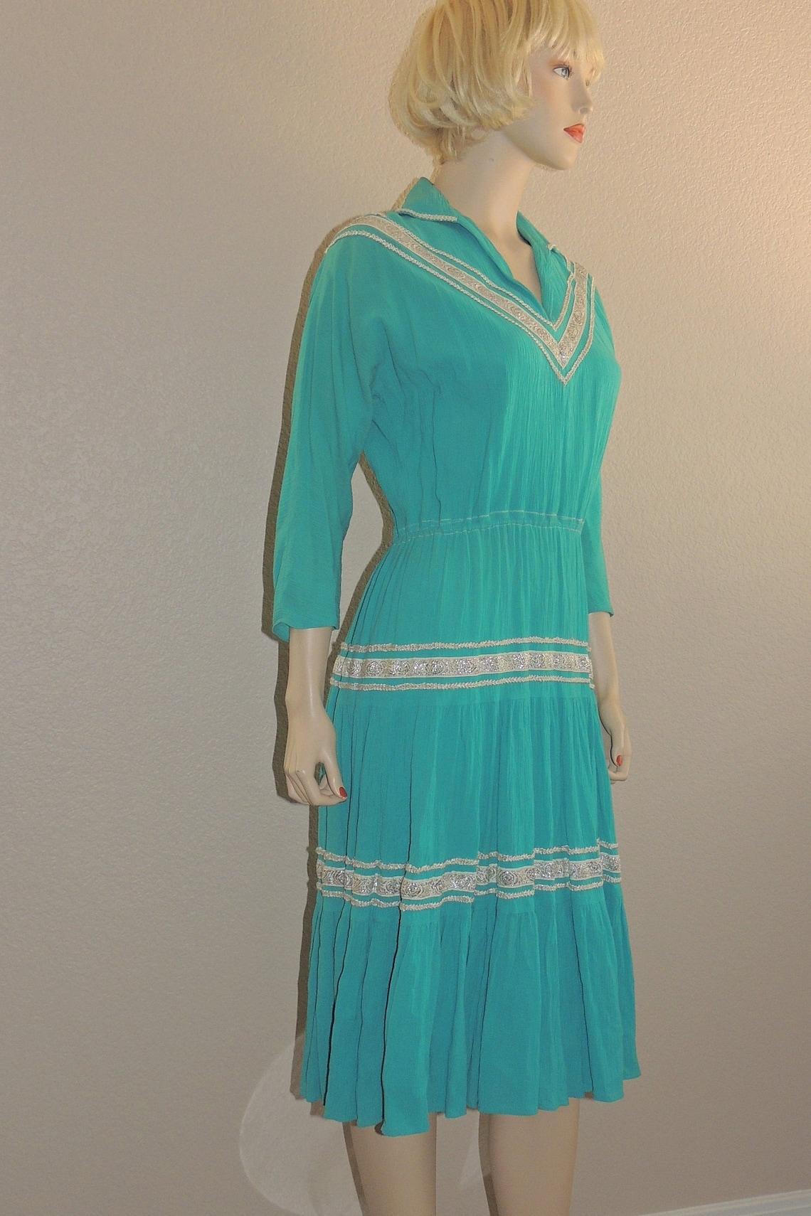 1950s Aqua PATIO Dress with Silvertone Rickrack