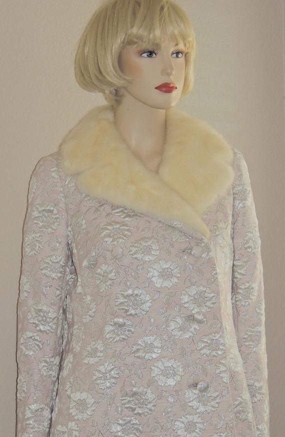 Vtg Nat Kaplan 14 Pink Brocade like Gown and Jacke