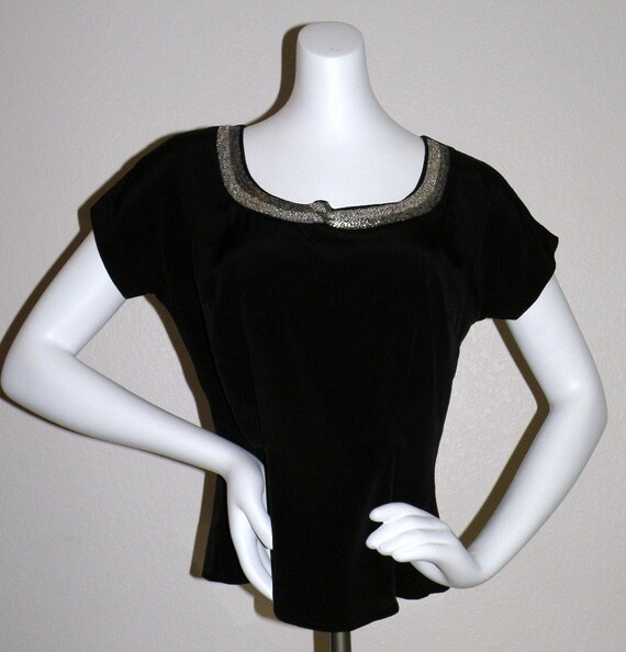 "1950s MORLOVE  ""The Couturier Blouse"" Black embel… - image 5"